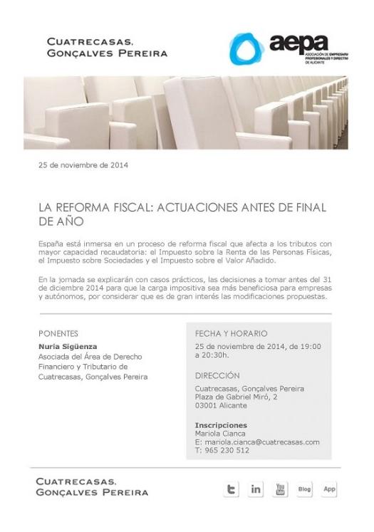 Ficha sobre la charla: La reforma fiscal, actuaciones antes de final de año, desarrollada por AEPA y Cuatrecasas