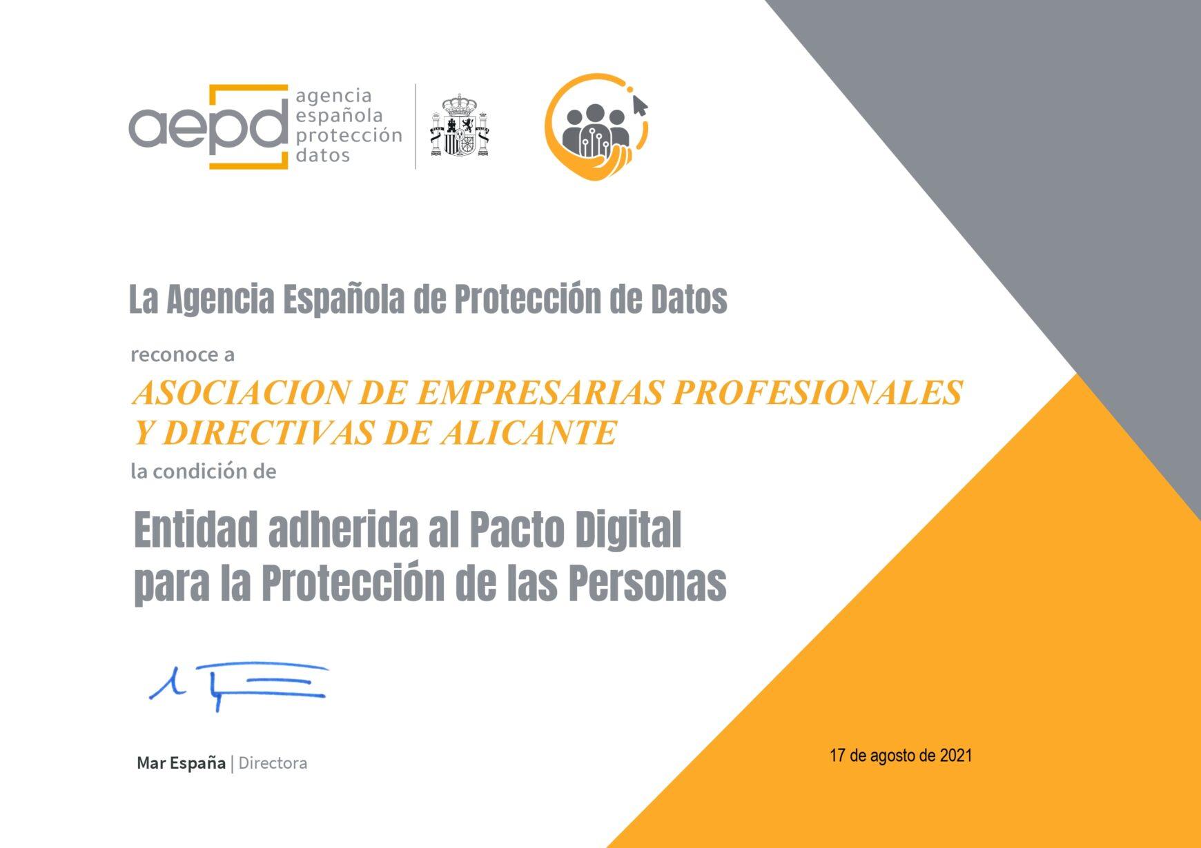 AEPA se adhiere al pacto digital para la protección de las personas.