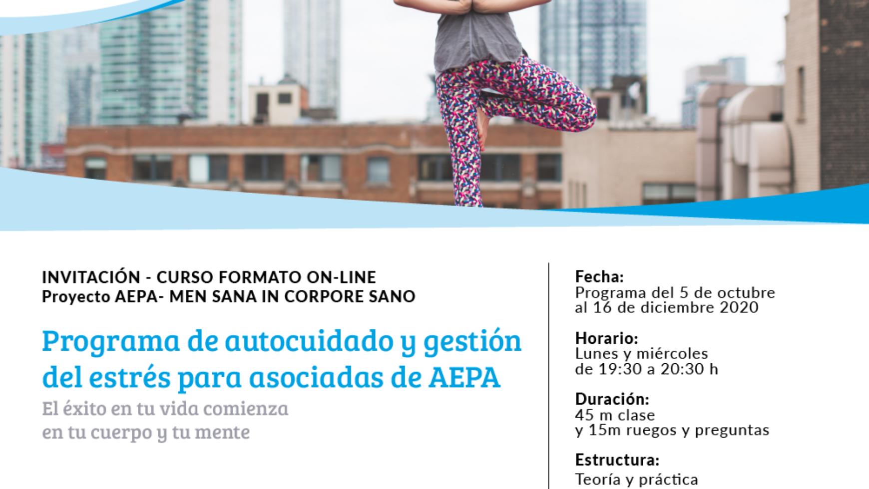 NUEVO PROGRAMAde autocuidado y gestión del estrés para asociadas de AEPA.