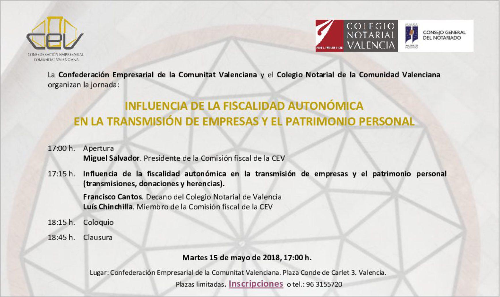 Jornada «Influencia de la Fiscalidad Autonómica en la Transmisión de Empresas y el Patrimonio Personal»