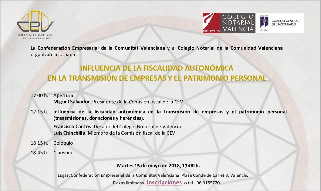 """Jornada """"Influencia de la Fiscalidad Autonómica en la Transmisión de Empresas y el Patrimonio Personal"""""""
